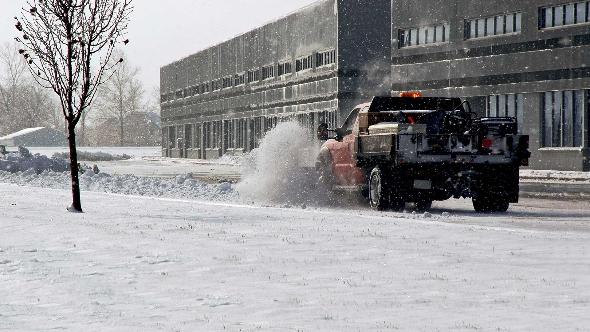 Commercial snow removal services performed in Noblesville, IN.