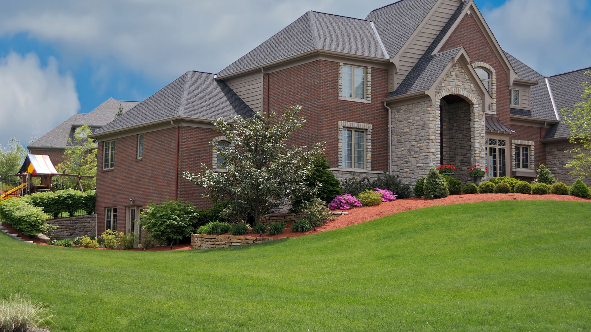 Recently mowed residential property in Noblesville, IN.