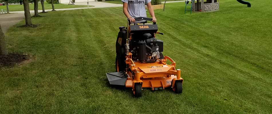 Lawn being mowed in Noblesville, IN.