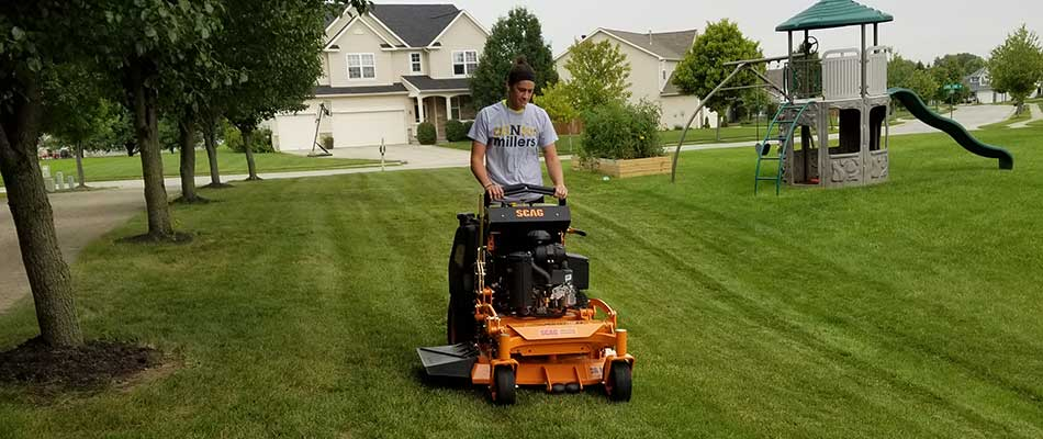 Stand-up mower cutting a lawn in Westfield, IN.