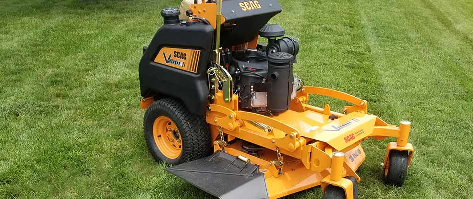The scag standing mower is a valued piece of equipment that we use to mow the properties of our Carmel customers.